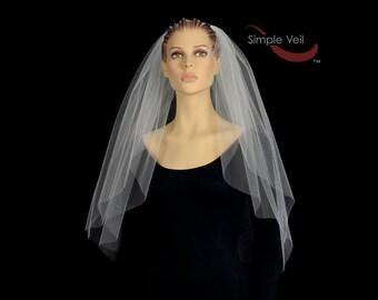 2 Layer Elbow Length Bridal Veil, Cut Edge, Simple Veil