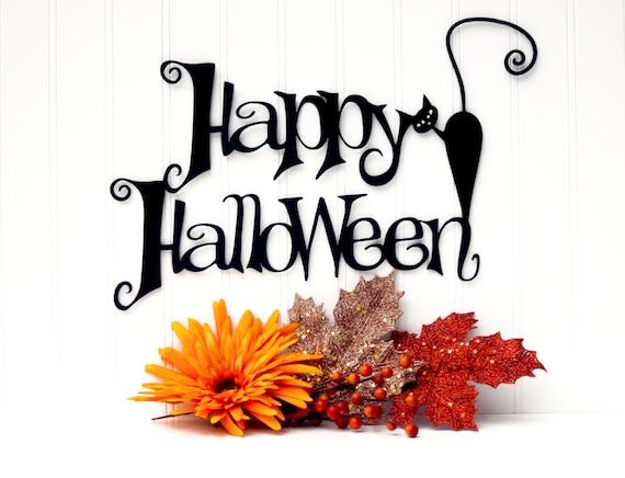 Happy Halloween Metal Sign with Cat - Black, 16x10.5, Black Cat, Halloween Decor, Halloween Home Decor, Outdoor Sign