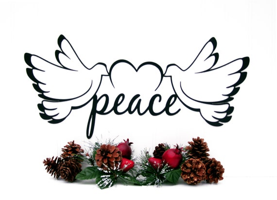 Christmas peace dove metal sign by