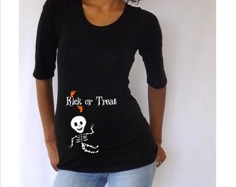"Maternity Halloween shirt "" Kick or Treat""  with Cute baby skeleton - Halloween costume- Maternity costume- Pregnant costume."
