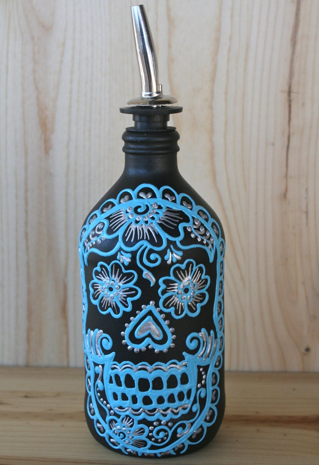 Hand painted sugar skull dispenser bottle great for soap for Hand painted glass bottles