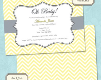 Baby Yellow Chevron Baby Shower Invitation - Printable Digital File (Print Your Own)