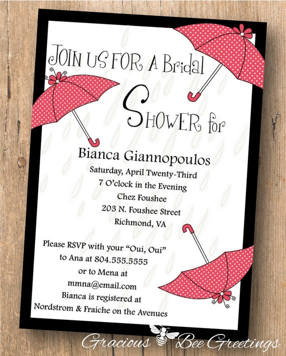 Bridal Shower Invitation - Digital Printable Invitation - Umbrella Showers Bridal Shower Invite BW1462