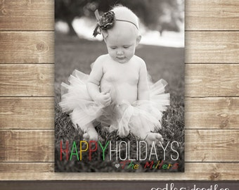 Holiday Photo Card, Christmas Photo Card, Happy Holidays, Holiday Card with Picture, Printable Digital File or Printed