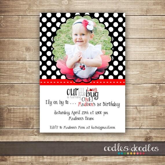 Ladybug Birthday Invitation / Ladybug Photo Invitation