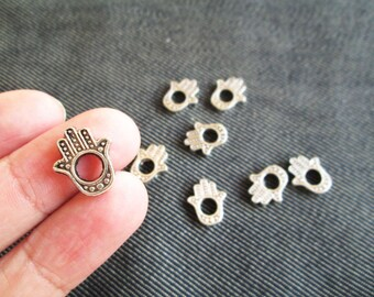 12 Antique Silver Plated Hamsa Bead Frame, 16mm x 13mm CT - 0144