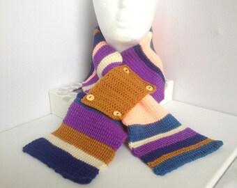 Purple Crochet Scarflette, Hand Crocheted Stripy Neckwarmer, Tunisian Crochet, Blue and Brown, Ladies Neck Cosy, Hand Knit Short Scarf