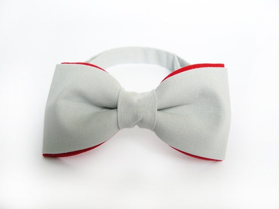 Men's Bow Tie by BartekDesign: pre tied double color grey gray red groom wedding classic retro necktie chic handmade gift for him