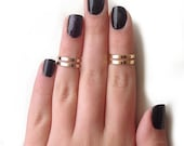 Love Double Knuckle Rings in Gold - set of 2 midi rings - gold midi ring set, gold ring set
