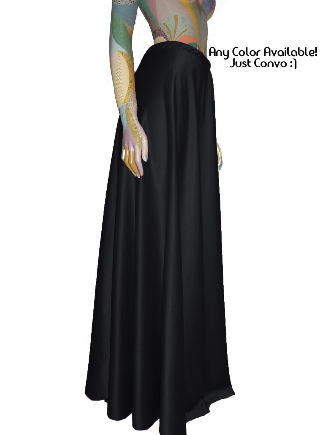 Black Satin Skirt Maxi Formal Flowy Skirt Sizes XS S M L