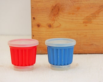 Vintage Red and Blue Plastic Tupperware Molds for pudding or jelly
