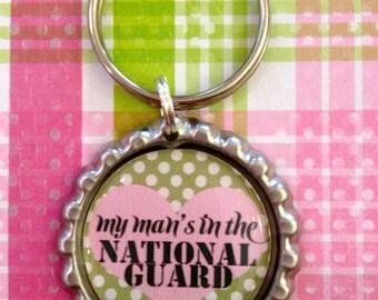 My Man's in the National Guard polka dot military keychain
