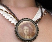 Upcycled Victorian Tintype Necklace, Leather & Lace with Glass Beads, Vintage Style