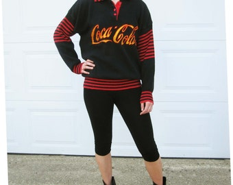 A 'Coke' Sweater - Black Cotton Knit 'Coca-Cola'  - Great Colors, Great Style - Red and Black Stripes, Soft and Fun - Registered With Coke
