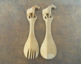 Vintage wooden spoon fork set Handcarved spoon fork Rustic kitchen decor African spoons with animal handles