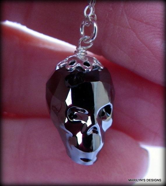 Silvery Night skull necklace, swarovski crystal necklace, dark silver crystal skull necklace, Goth necklace