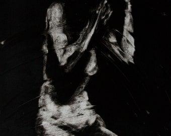 Haunting Figure Monotype Print, Descent XIV