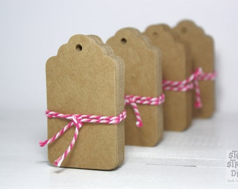 25 Brown Kraft Paper Scalloped Gift Tags, 4 x 7cm with string
