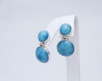 Larimar Earrings, Double Larimar Stones, Stylish Larimar Jewelry for Her