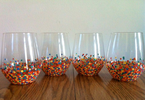 Hand painted rainbow dot stemless wine glasses set of 4 for Painted stemless wine glasses