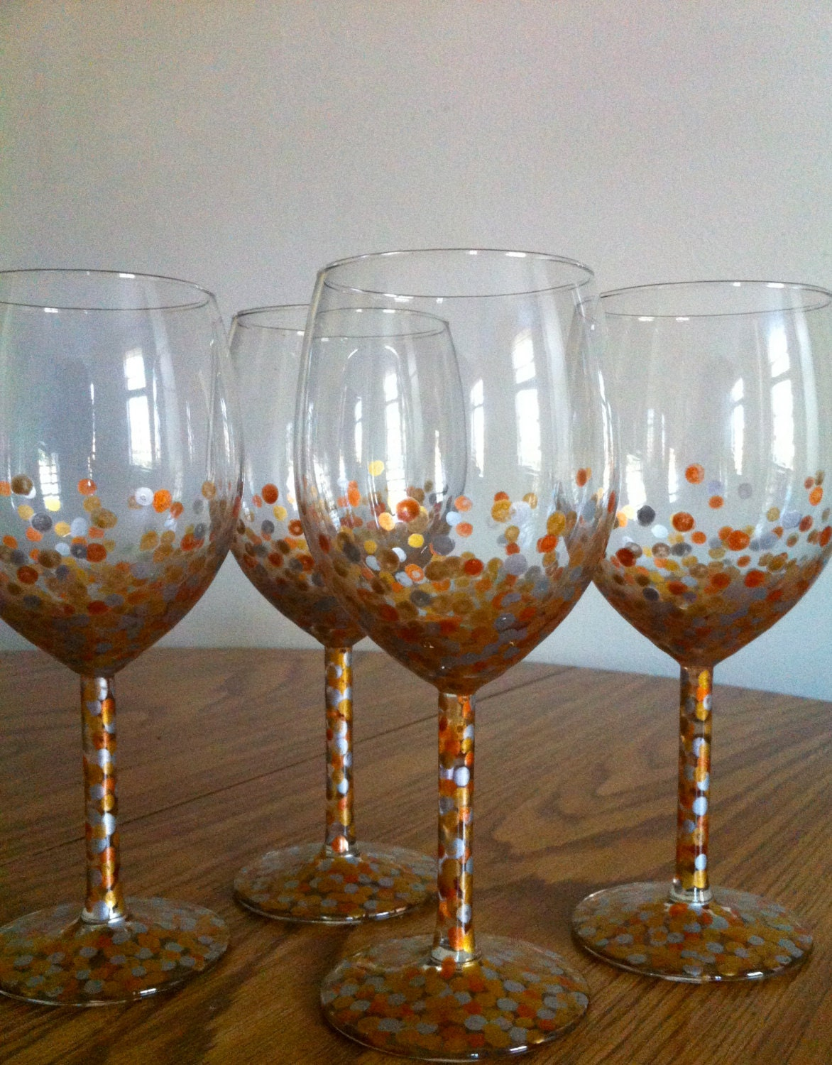 Metallic Wine Glasses : Hand painted metallic dot wine glasses set of by