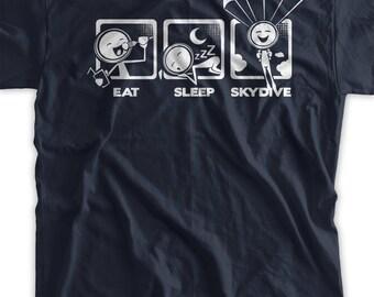 Funny SkyDiving Shirt Eat Sleep SkyDive T-shirt Gifts for Dad Screen Printed T-Shirt Tee Funny Shirt Mens Ladies Womens
