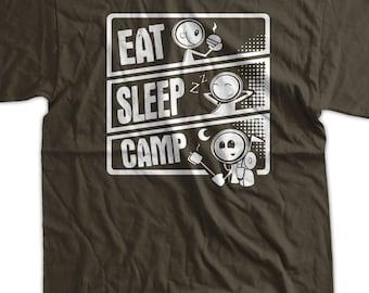 Camp Hiking Tent Camping T-Shirt Eat Sleep Camp T-Shirt Gifts for Dad Screen Printed T-Shirt Tee Shirt T Shirt Mens Ladies Womens Youth Kid