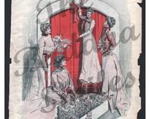 Vintage Magazine Cover - Ladies Home Journal December 1901 artist Thomas Mitchell Peirce (1002)
