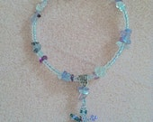 """EXPRESSIONS IN COLOR - 7.5 inch """"Lucky Lizard""""  Bracelet w/ Genuine Fluorite Chips & Aurora Borealis Crystal Seed Beads - Made to Save Lives"""