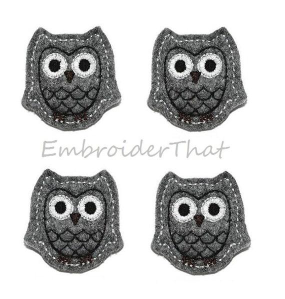 UNCUT Charcoal Felt Owl applique embellishment hair bow center (4)