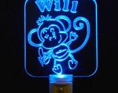 Kids Personalized Cheeky Monkey Night Light, Eco Friendly LED Light
