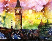 Watercolor painting of Big Ben by Ryan Fox