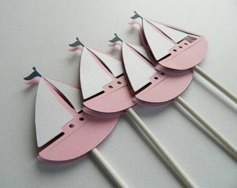 Pink Sailboat Cupcake Toppers, Nautical Cupcake Toppers, Sailboats