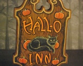 Hand Painted Halloween Wooden Wall Hanging, Pub / Inn Sign with Black Cat and Pumpkins