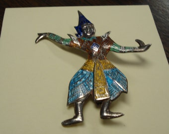 Vintage Siam Dancer Sterling Silver Brooch Pin