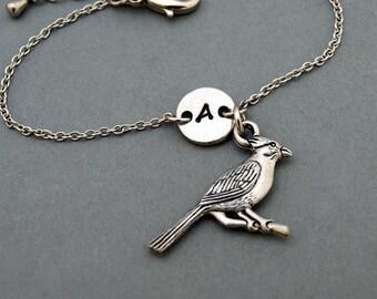 Cardinal charm bracelet, bird charm, antique silver, initial bracelet, friendship, mothers, adjustable, monogram