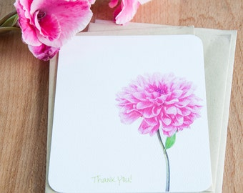 Pink Flower Personalized Stationary Set, Eco Friendly Gift