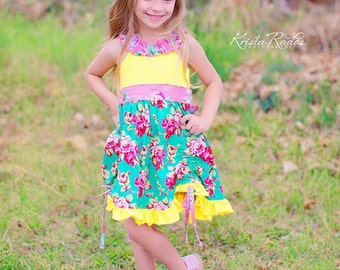 SALE..Buy 2 get 1 Free..Instant Download PDF Sewing Pattern Tutorial Luanne KNIT Bodice Ruffle Neck Ruched Dress Top Size 0-3m to 12