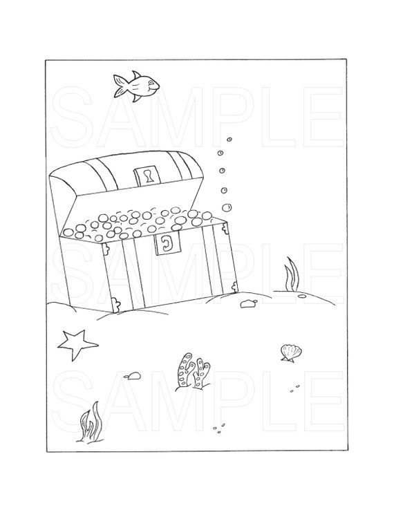 Items similar to treasure chest printable coloring page for Treasure chest coloring pages printable