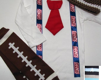 NEW YORK GIANTS inspired football outfit for baby boy - tie bodysuit with suspenders, crochet hat, leg warmers
