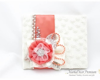 READY TO SHIP Wedding Lace Guest Book Custom Jeweled Bridal Flower Brooch Guest Books in Ivory and Coral with Handmade Flowers, Brooches