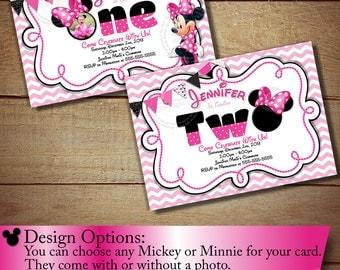 Minnie Mouse First Birthday Invitation, Minnie Mouse Second Birthday Invitation, Pink Chevron Invitation, DIY Minnie, Light Pink, Pink