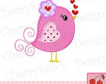 Sweet Birdie-Valentine Birdie Digital Embroidery Applique-4x4 5x7 6x10-Machine Embroidery Applique Design