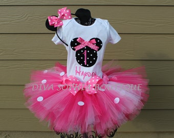 Pink Personalized Minnie Mouse Tutu Set with Number- Birthday Set