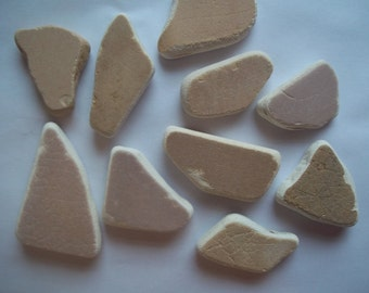 Scottish Sea Glass beach finds 10 brown coloured mixed sea pottery shards b1