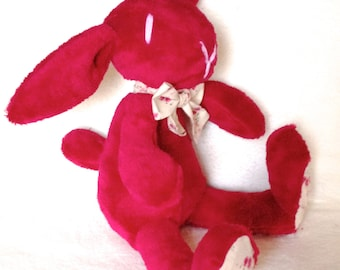 Plush bunny, rabbit, stuffed, raspberry red - Easter bunny - baby shower toy