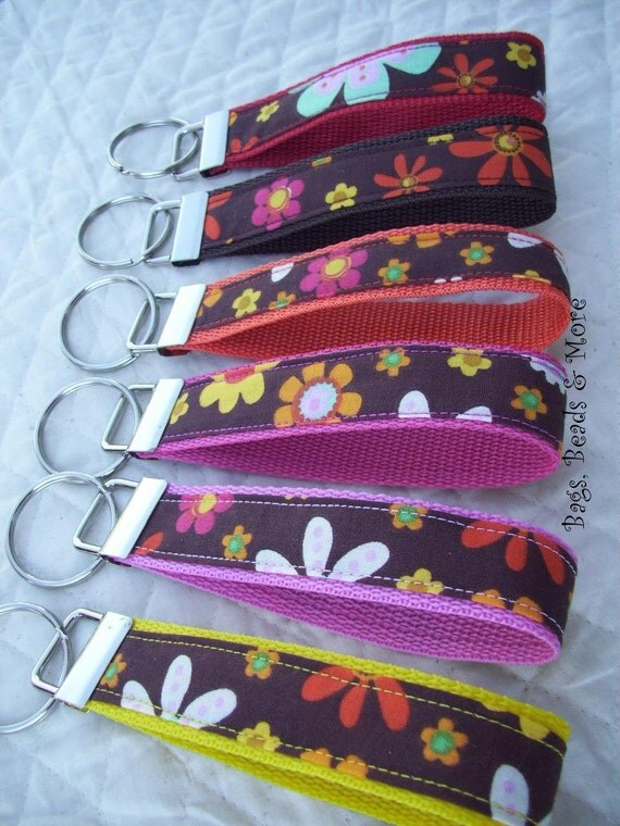 Colorful Floral Keychain, Key Wristlet, You choose Webbing Color
