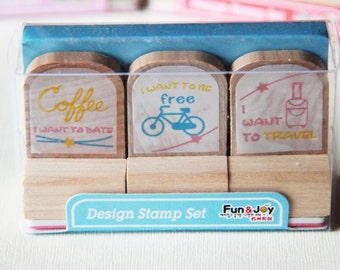 3 Designs Wooden Rubber Stamps Set 4 - Coffee Bike Outdoor Date. Travel Journal Stamps -  3cm x 3cm - Scrapbooking. Cardmaking. Tag Making