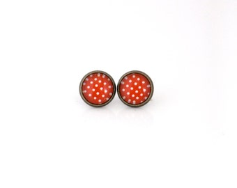 12mm Red White Polka Dot Earrings, Red White Dot Earrings, Red White Polka Dot Studs, Red White Polka Dot Jewelry, Red and White Earrings