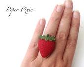 Farmer's Market Strawberry Ring, Polymer Clay Jewelry, Polymer Clay, Red Jewelry, Fimo, Strawberries, Fruit, Ripe, Sweet, Summer, Big Ring